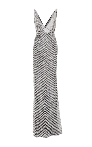 Medium naeem khan silver sequin v neck gown