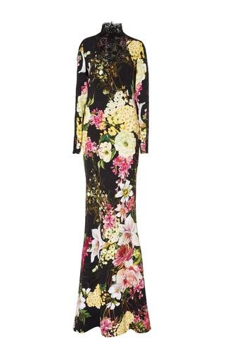 Medium naeem khan black long sleeve floral gown