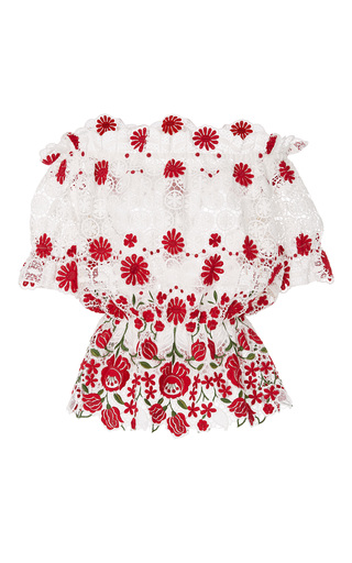 Medium naeem khan floral off the shoulder floral embroidered blouse