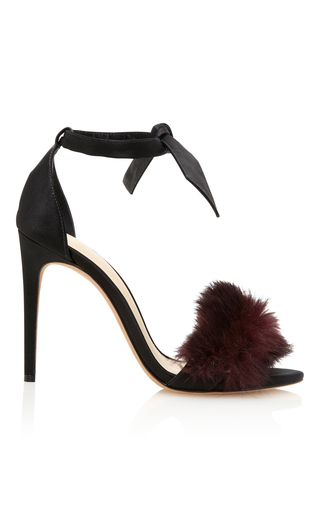 Medium alexandre birman burgundy clarita fur trimmed satin sandals