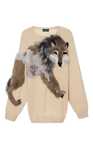 Medium alena akhmadullina neutral wolf fur embroidered cashmere sweater