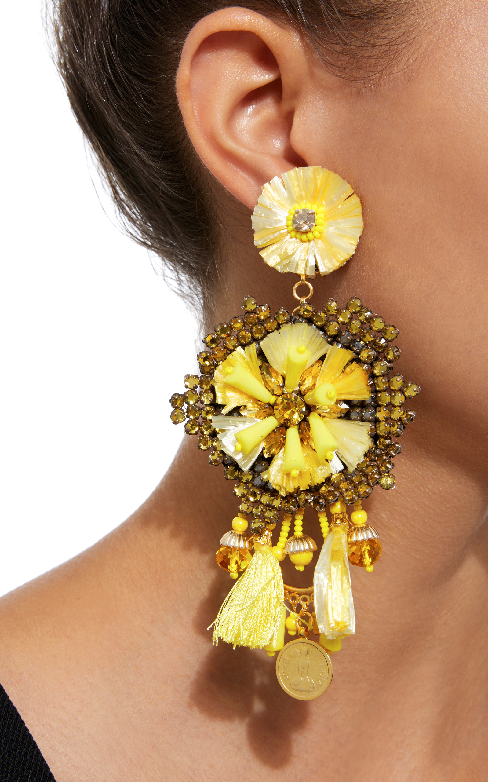 14K Gold-Plated, Raffia, Leather, Crystals, And Antique Gold Coins ...