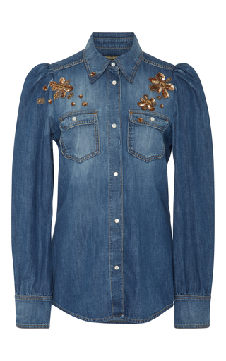 Medium roberto cavalli blue embellished denim shirt