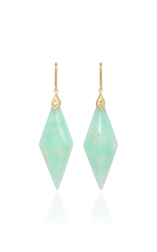 Medium jamie wolf green yellow gold mint chrysoprase drop earrings with diamonds