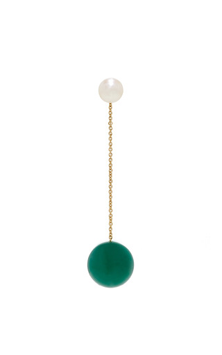 Medium delfina delettrez green virus earring with agate and freshwater pearl