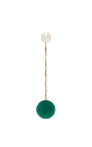 Medium delfina delettrez green virus earring with agate and freshwater pearl