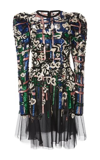 Medium elie saab black sleeveless bead embroidered dress