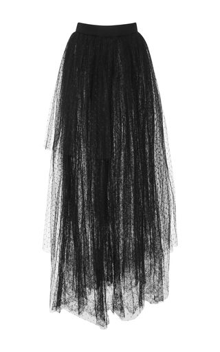 Medium elie saab black long skirt with gathered tulle