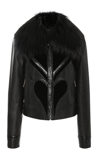 Medium elie saab black leather jacket with velvet details
