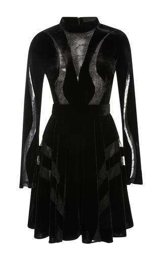 Medium elie saab black velvet dress with lace inserts