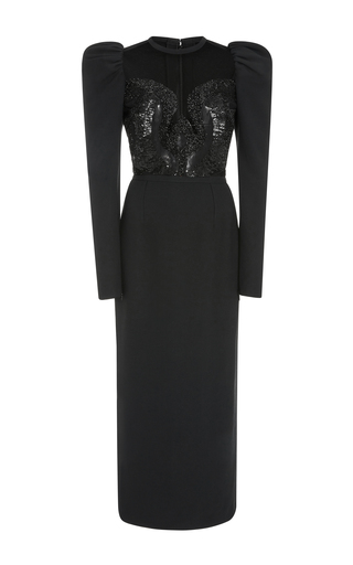 Medium elie saab black juliet sleeve dress