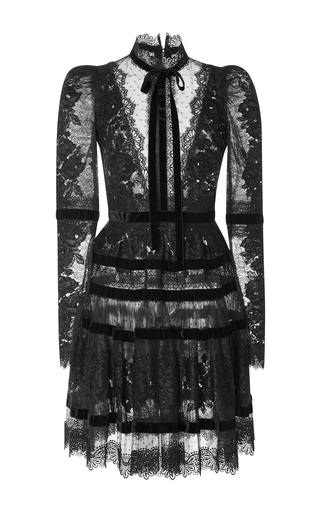 Medium elie saab black velvet long sleeve dress