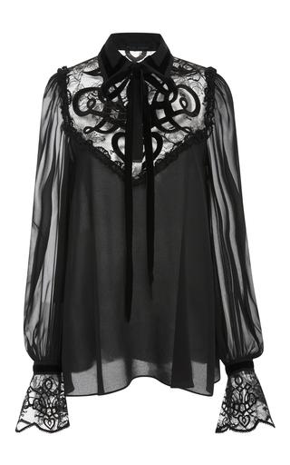 Medium elie saab black lace and velvet blouse