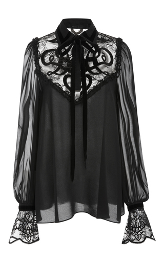 Medium elie saab black lace and velvet blouse