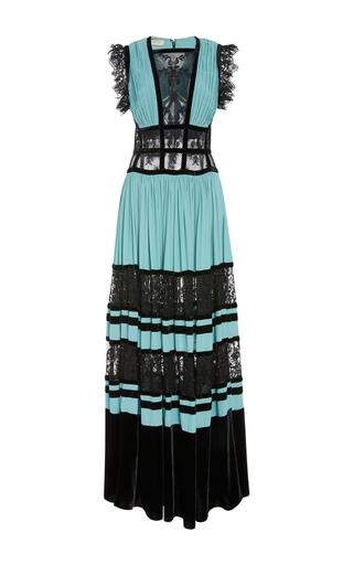 Medium elie saab blue pleated velvet dress