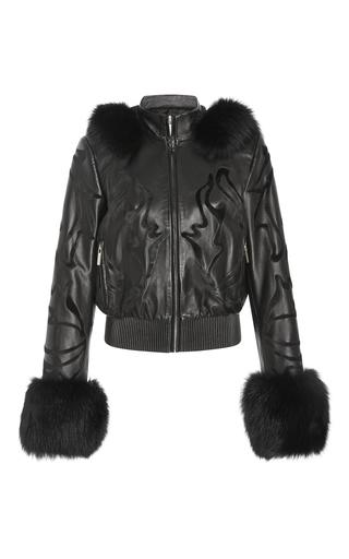 Medium elie saab black leather hoodie jacket