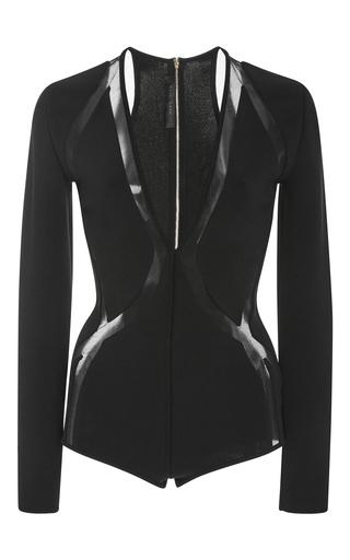 Medium elie saab black long sleeve bodysuit