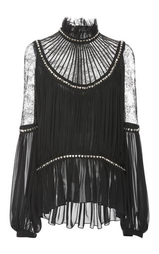 Medium elie saab black peplum blouse with puff sleeves