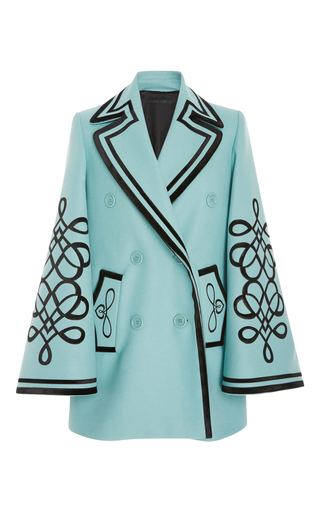 Medium elie saab blue bell sleeve coat