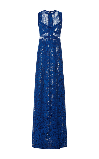 Medium elie saab blue sleeveless lace maxi dress
