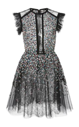 Medium elie saab black beaded embroidered tulle dress