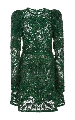 Medium elie saab green beaded embellished mini dress