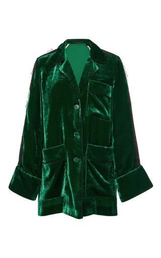 Medium elie saab green velvet jacket with lace inserts