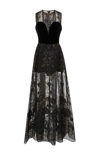 Medium elie saab black velvet strapless embellished dress