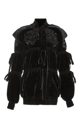 Medium elie saab black hooded velvet jacket