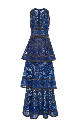 Medium elie saab blue sleeveless beaded embroidered dress