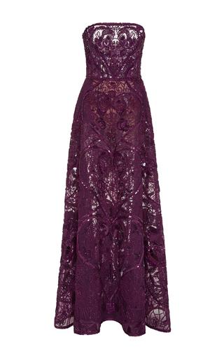 Medium elie saab purple strapless dress with full skirt