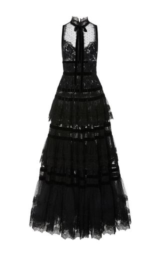 Medium elie saab black lace ruffle sleeveless dress
