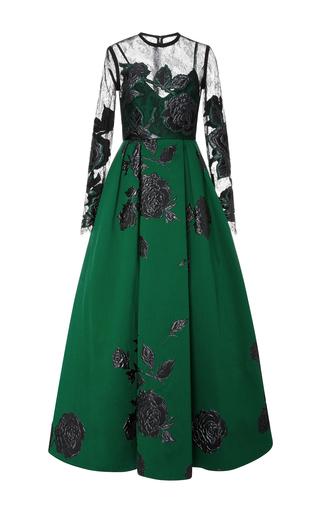 Medium elie saab green jacquard maxi dress