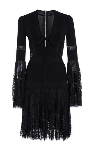Medium elie saab black knit mini dress with lace bell sleeves
