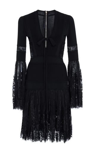 Medium elie saab black knit mini dress with lace bell sleeves