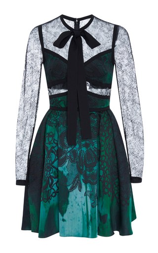Medium elie saab green jacquard mini dress with lace sleeves