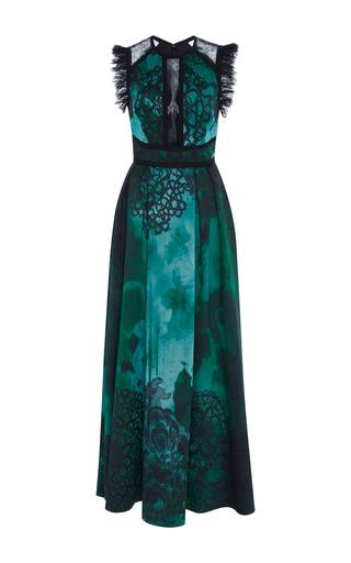 Medium elie saab green sleeveless ruffled jacquard dress