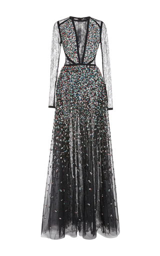 Medium elie saab black embroidered gown with lace inserts