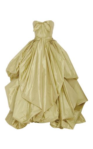Medium zac posen yellow taffeta bow gown
