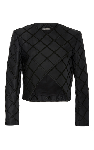 Medium zac posen black square duchess cropped jacket