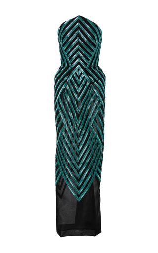 Medium zac posen blue fine mesh herringbone embroidery dress