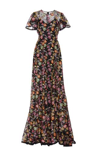 Medium zac posen floral flower embroidery organza ruffle sleeve gown