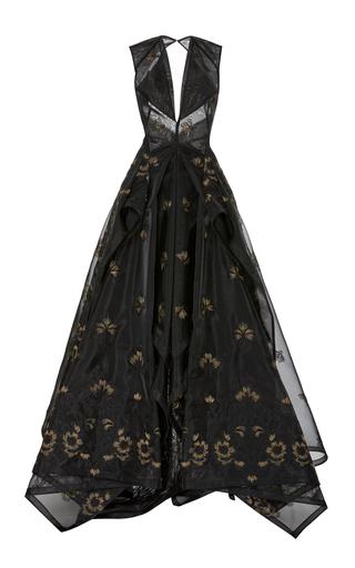 Medium zac posen black guipure lace v neck gown