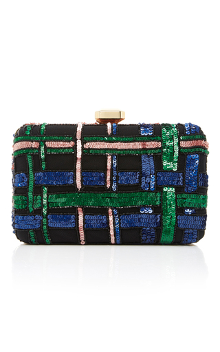 Medium elie saab black embroidered clutch
