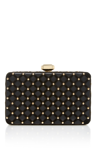 Medium elie saab black studded clutch