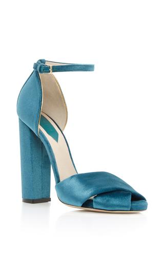Medium elie saab blue velvet ankle strap sandal