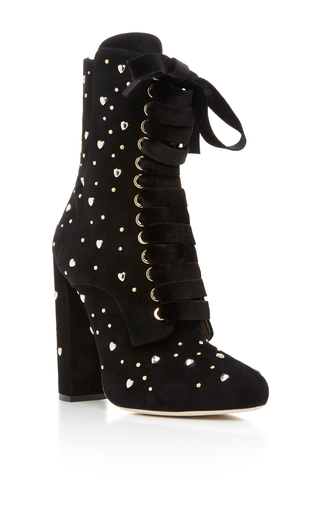 Medium elie saab black lace up boot with studs