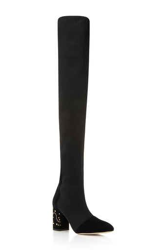 Medium elie saab black high leather boot