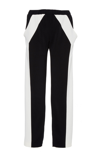 Medium sally lapointe black white stretch crepe track pant