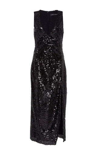Medium sally lapointe black vertical sequin embroidered high slit dress